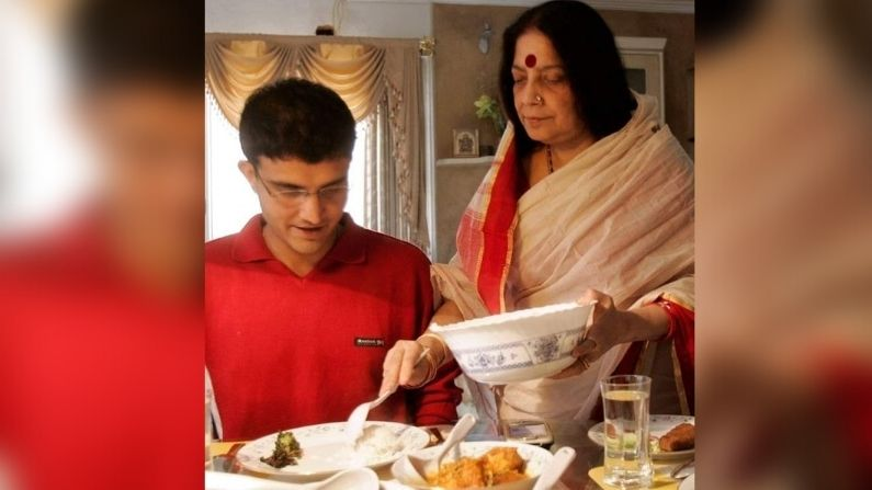 Sourav Ganguly and his mother