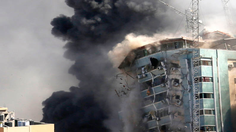 Housing Building which hit by Israeli airstrikes,